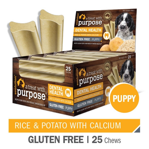 """A Puppy Dental treat with purpose"" Rice & Potato With Calcium"