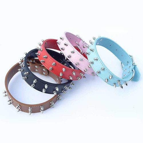 PU Leather Adjustable Dog Collar With Spikes