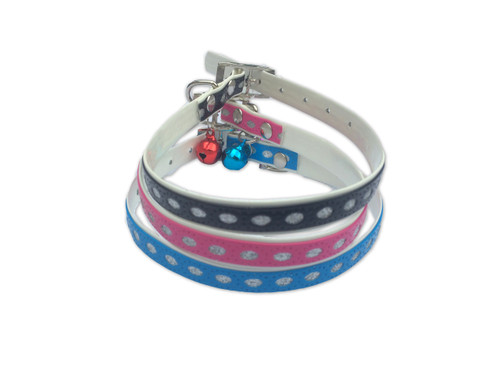 Adjustable Glitter Cat Collar with Shiny Bell