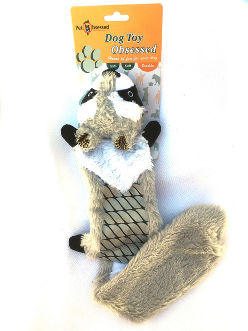'Rowdy Racoon' Noise-Making Stuffing-free Dog Toy