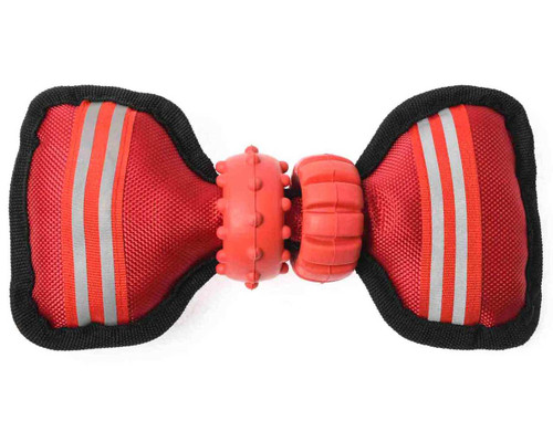 Durable 'Bow Tie' Rubber & Oxford Padding Dog Chew Toy