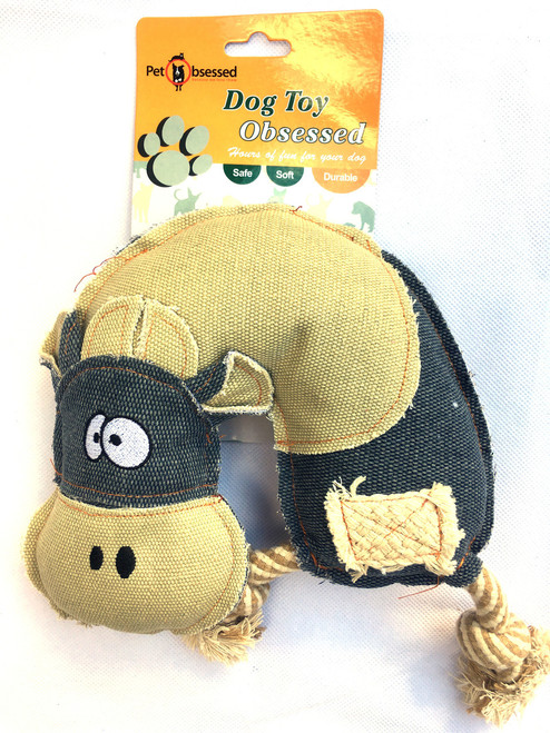 'Chewy Cow' Strong Rope Squeaking Dog Toy