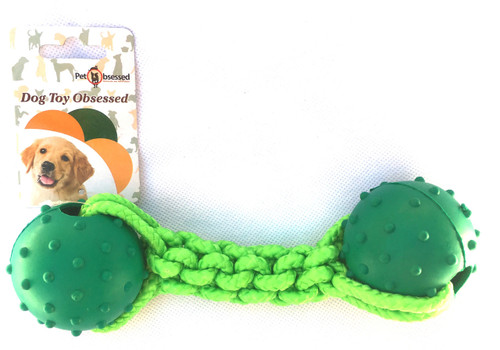 Robust Rope 'n' Rubber Green Dog Ball Toy