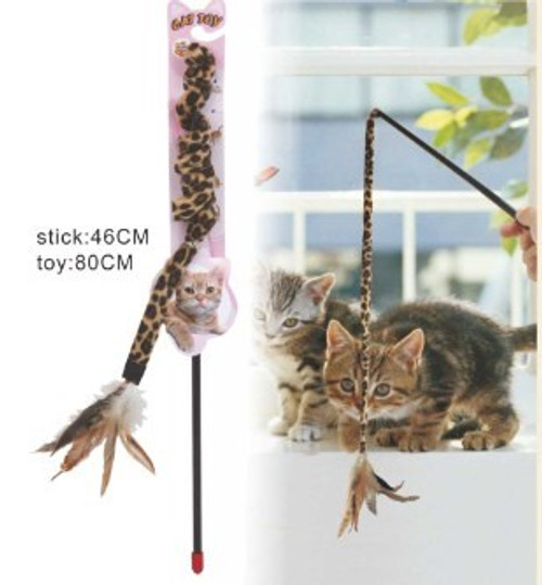 Hand-Held 'Feather 'n' Stick' Cat Swing Toy