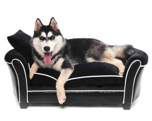 Large 'Velvet Luxury' Black Velvet Pet Sofa