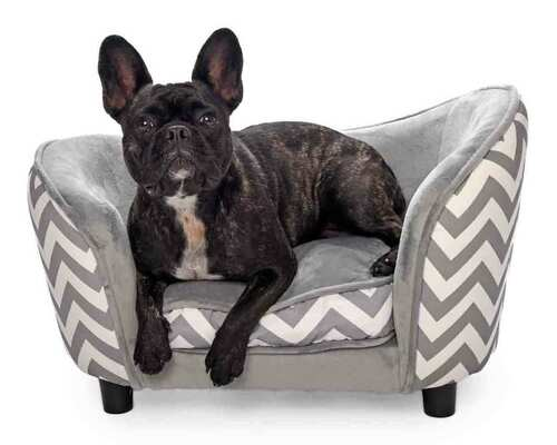 Luxury Lounge' Pet Sofa (Grey Zebra / Chevron Print)