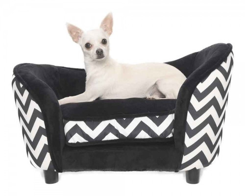'Luxury Lounge' Pet Sofa (Black Zebra / chevron Print)
