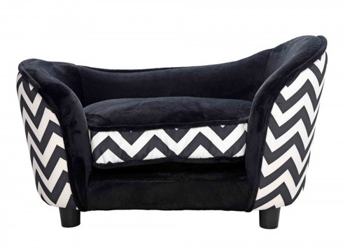 Pet Obsessed Black Zebra Dog Sofa / Bed