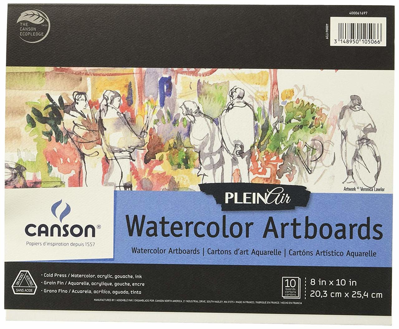 Canson Plein Air Watercolor Artboard 8x10 10sht Pad
