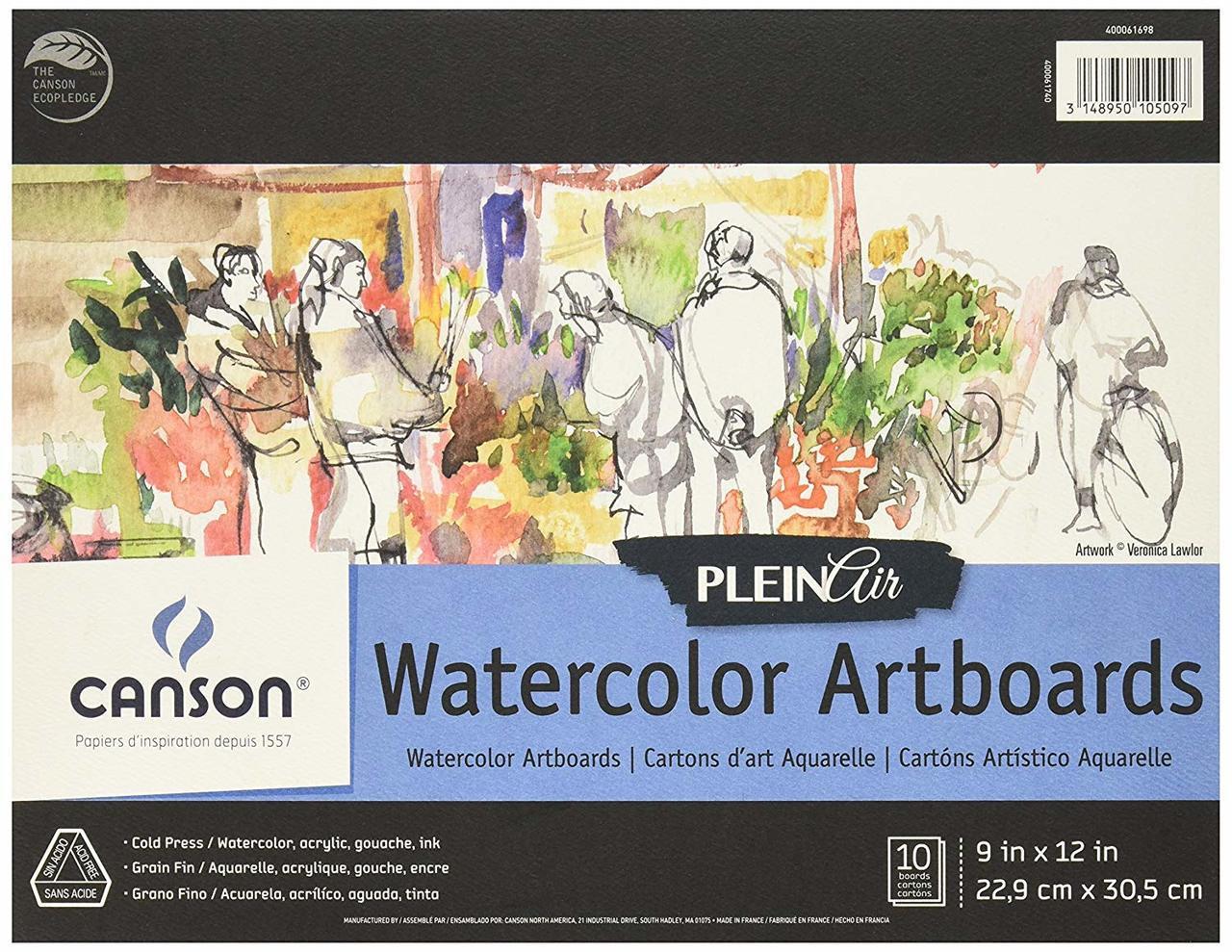 Canson Plein Air Watercolor Artboard 9x12 10sht Pad
