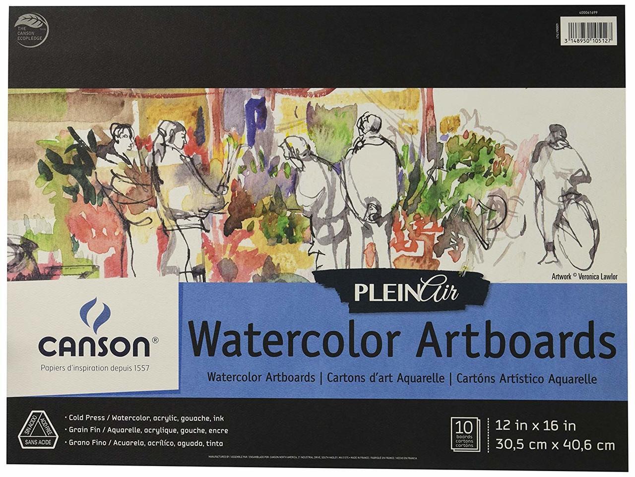 Canson Plein Air Watercolor Artboard 12x16 10sht Pad