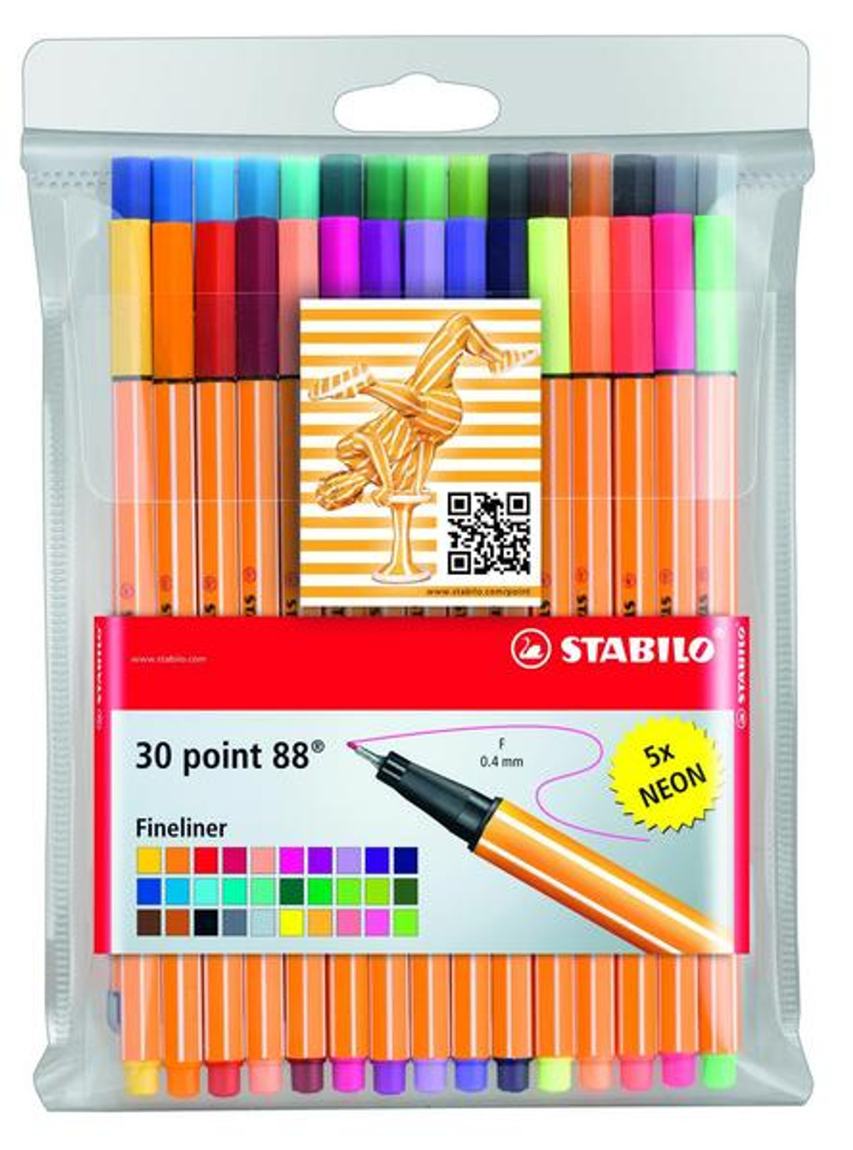 Stabilo Point 88 Fineliner Wallet 30 including 5 Neon