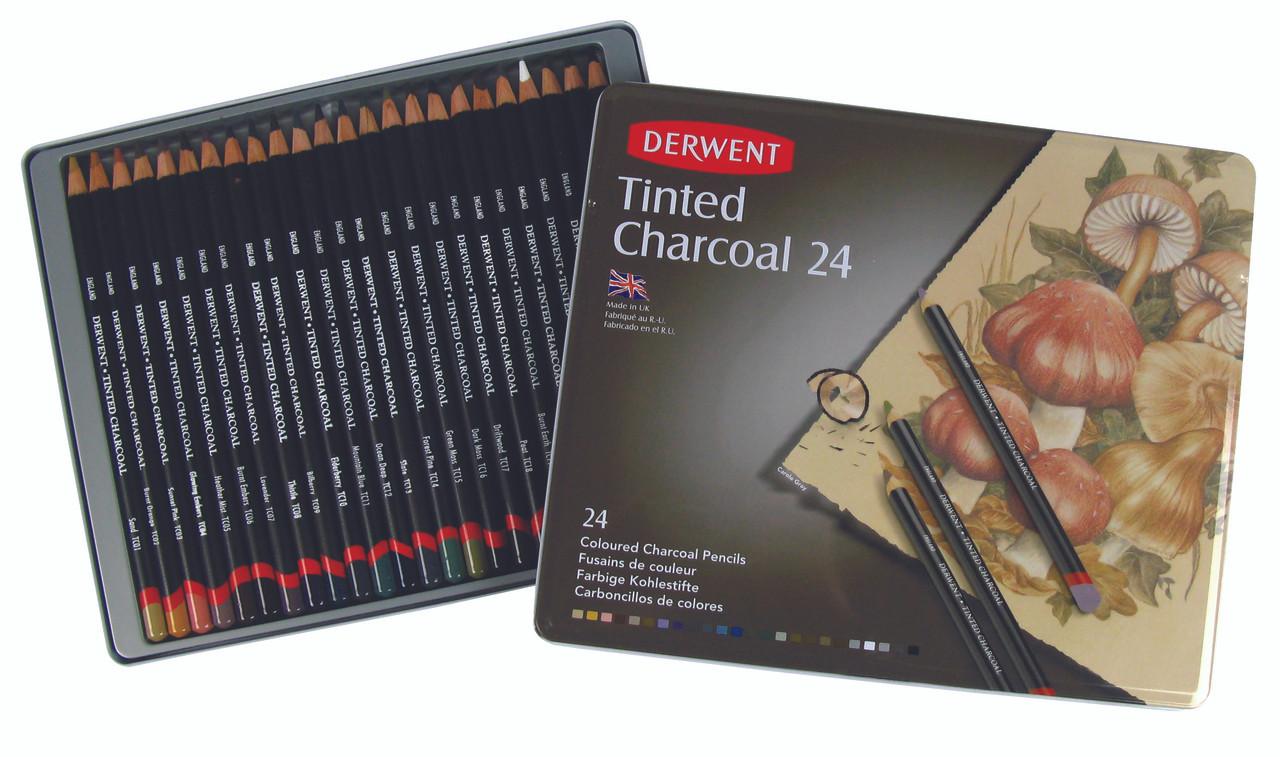 Derwent Tinted Charcoal Pencil 24pc Tin