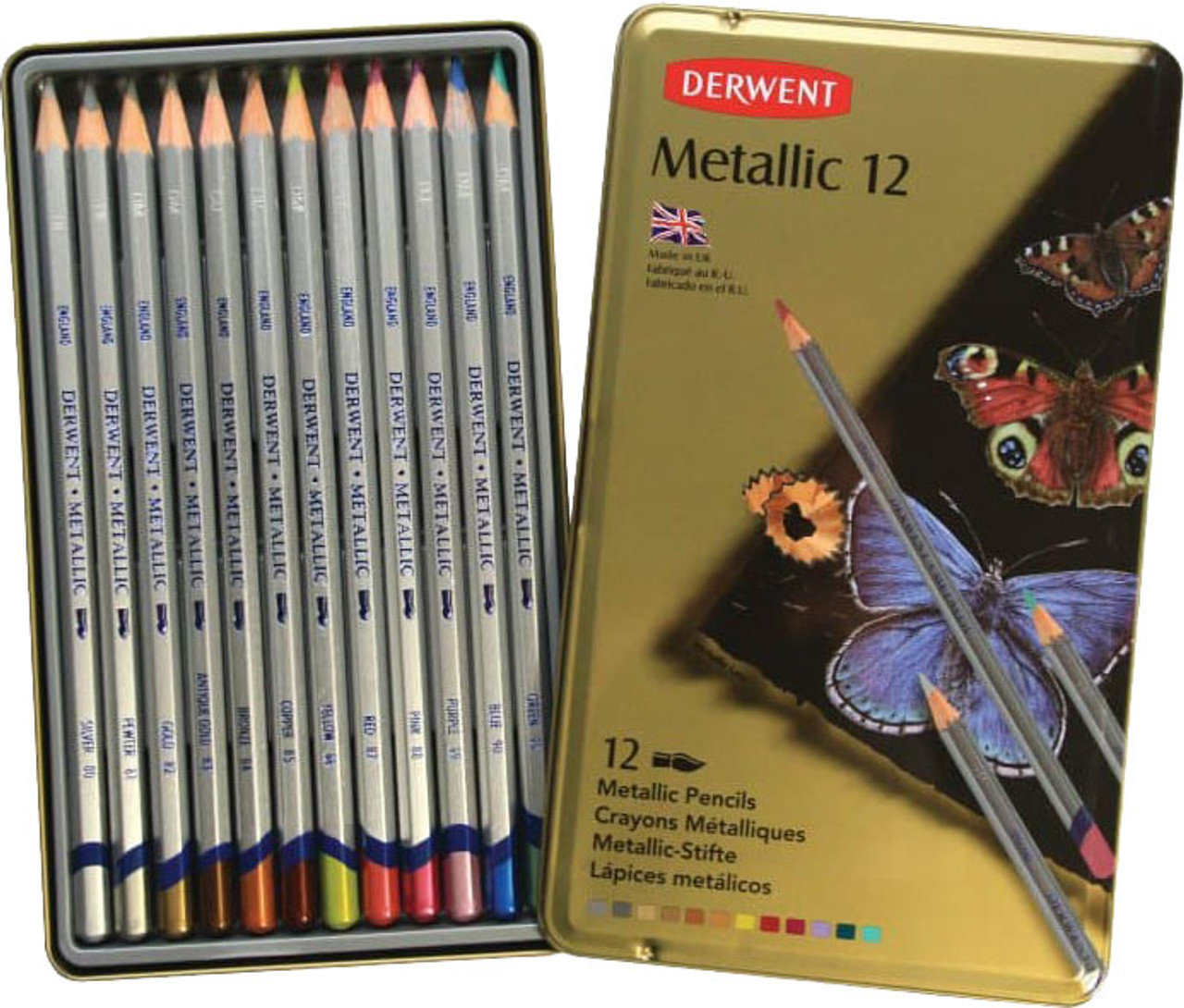 Derwent Metallic Pencil 12pc Tin Set