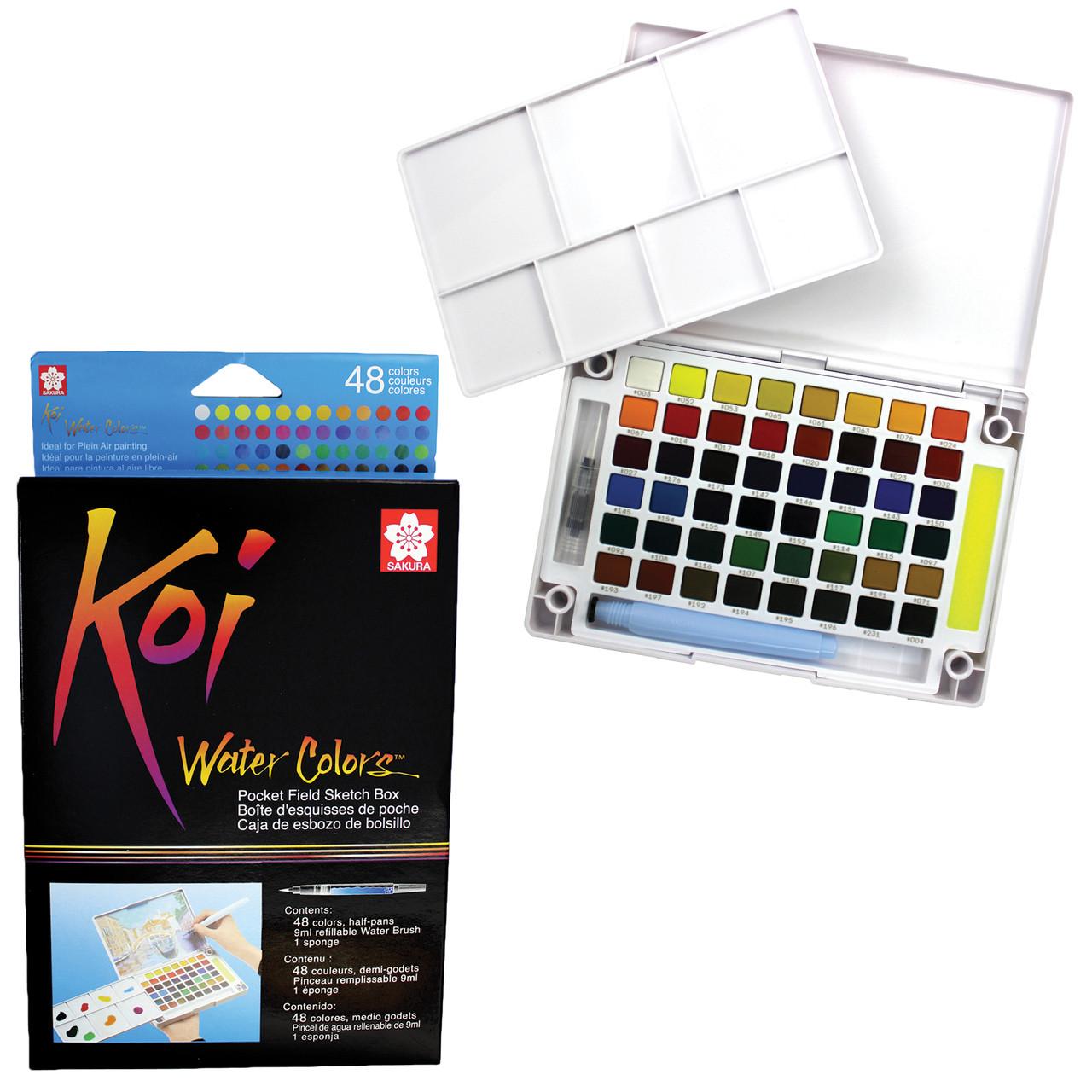 Koi Watercolor Field Sketch Box w/Waterbrush 48-color