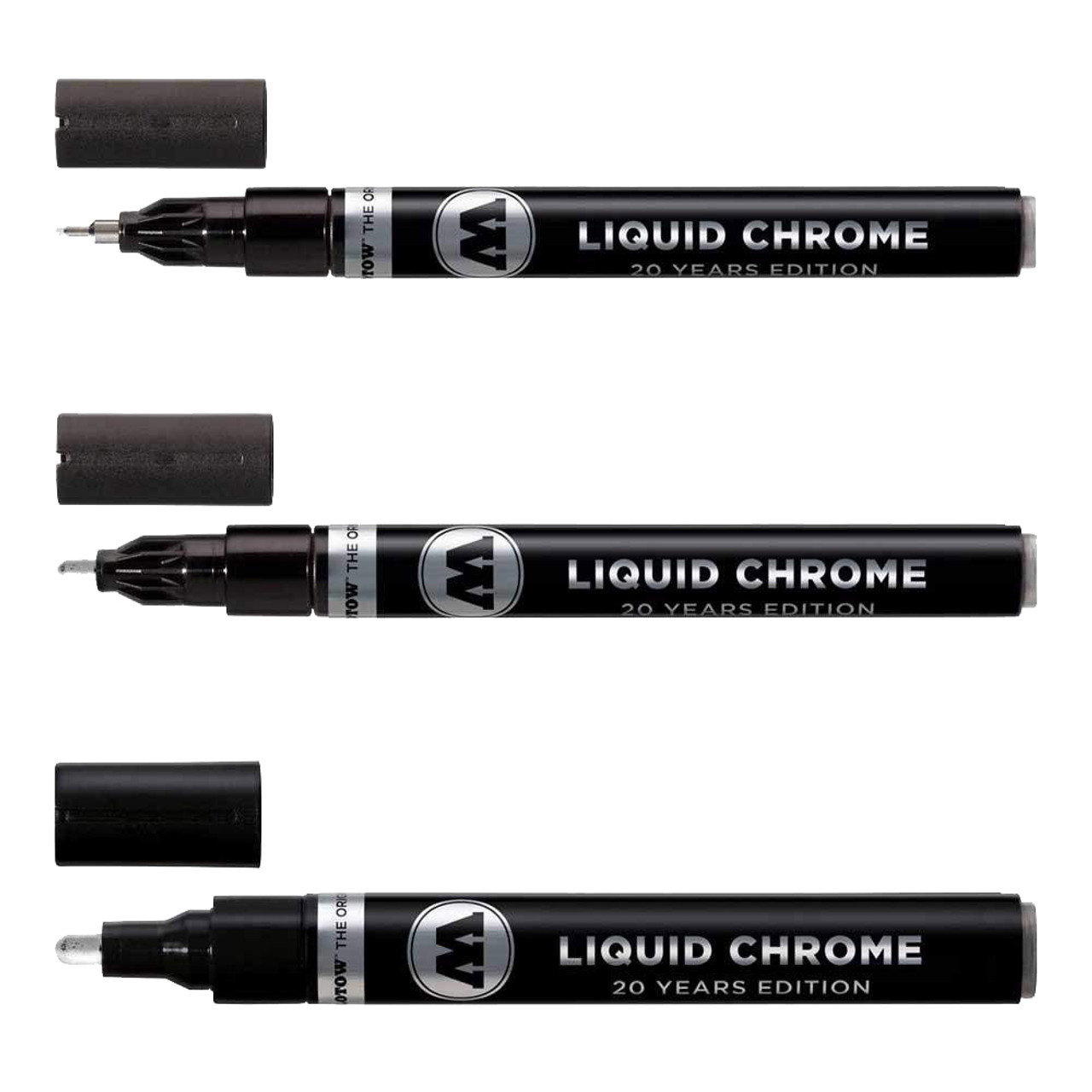 Molotow Liquid Chrome markers: 1mm, 2mm and 4mm