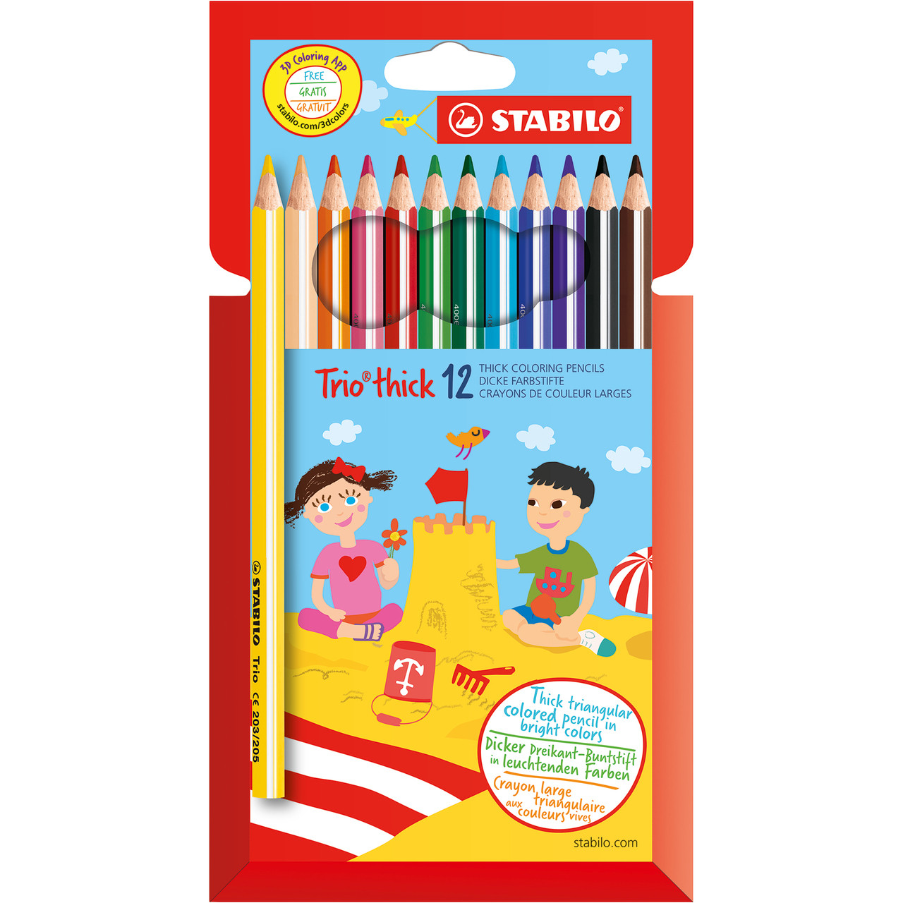 Stabilo TRIO Thick Pencil 12-color Set