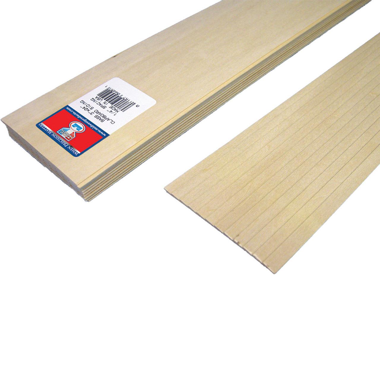 "Basswood Clapboard Siding 3"" x 1/4"" x 24"""