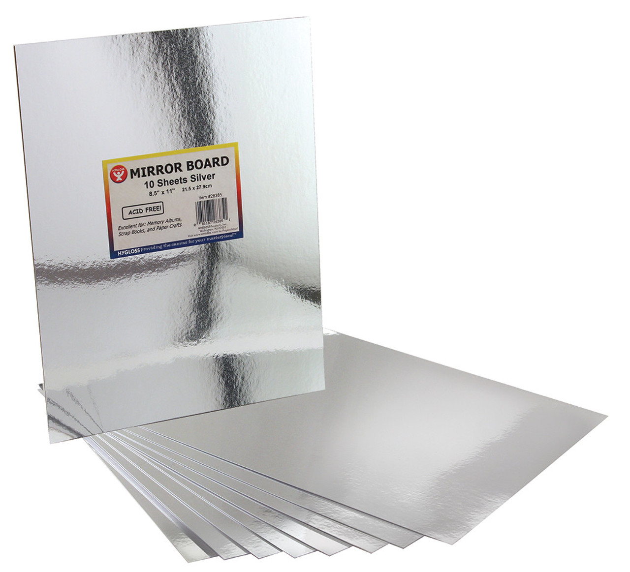 Hygloss Mirror Board Silver 5pk 8.5in x 11in