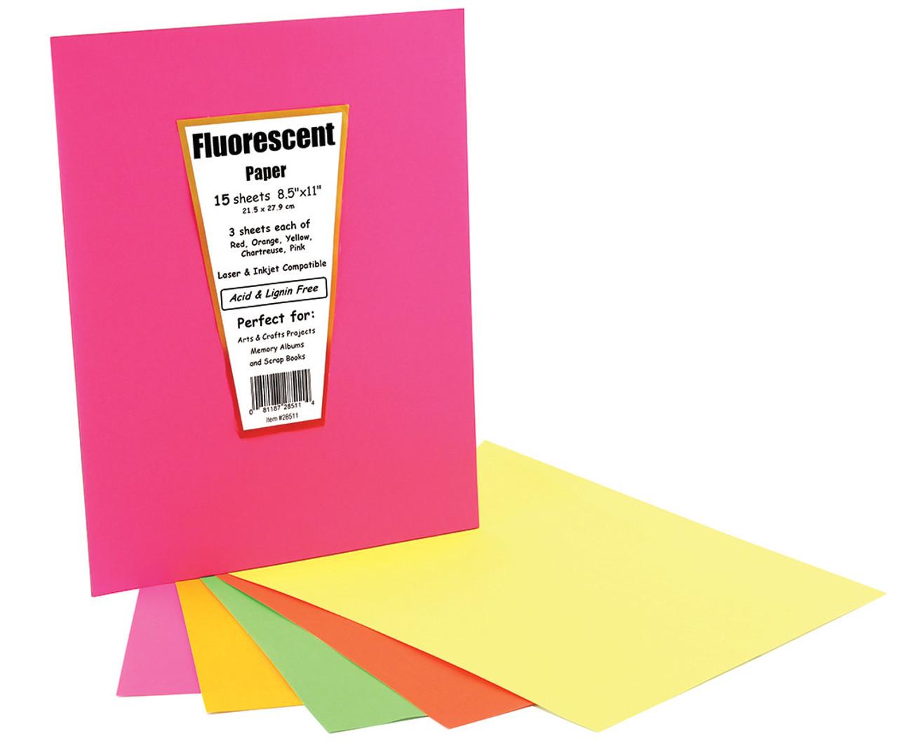 Hygloss Fluorescent Paper 15pk 8.5in x 11in