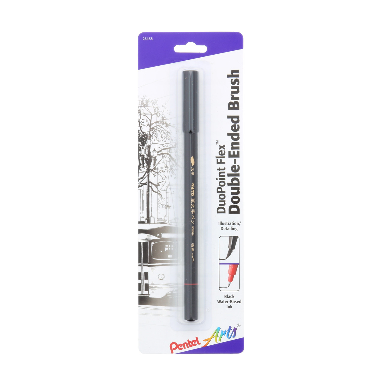 Pentel DuoPoint Double Ended Black Artist Pen