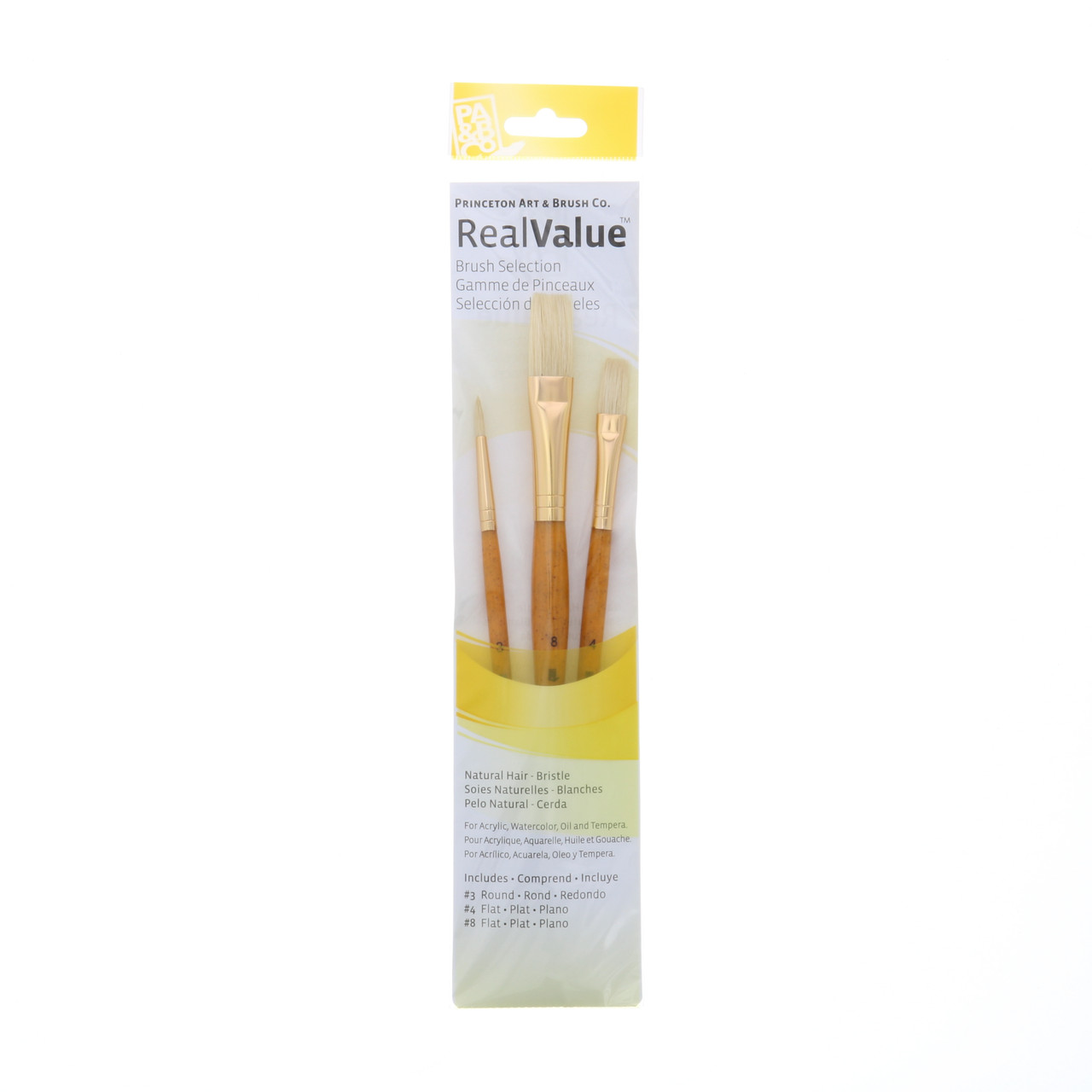 Natural-Bristle 3-Brush Set Round 3, Flat 4, 8