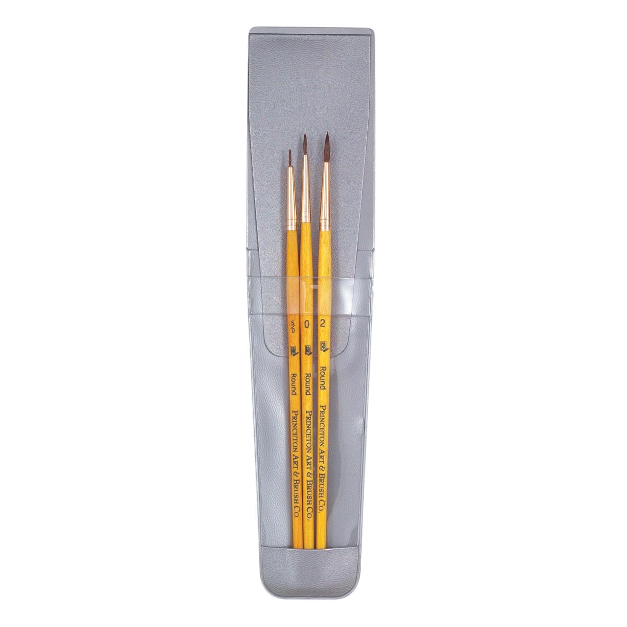 Synthetic Sable 3-Brush Set Round 5/0, 0, 2