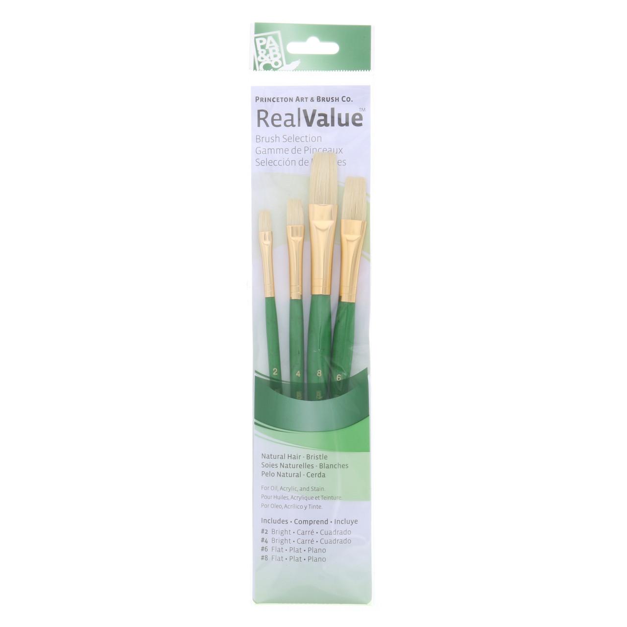 Natural-Bristle 4-Brush Set Bright 2, 4, Flat 6, 8