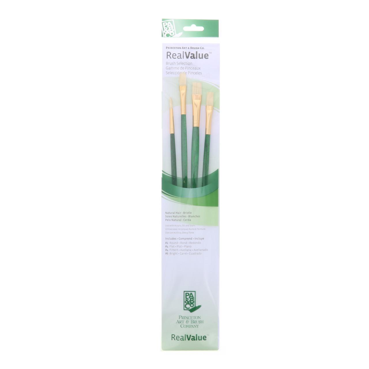 Natural Bristle 4-Brush Set Round 2, Flat 4, Filbert 4, Bright 6