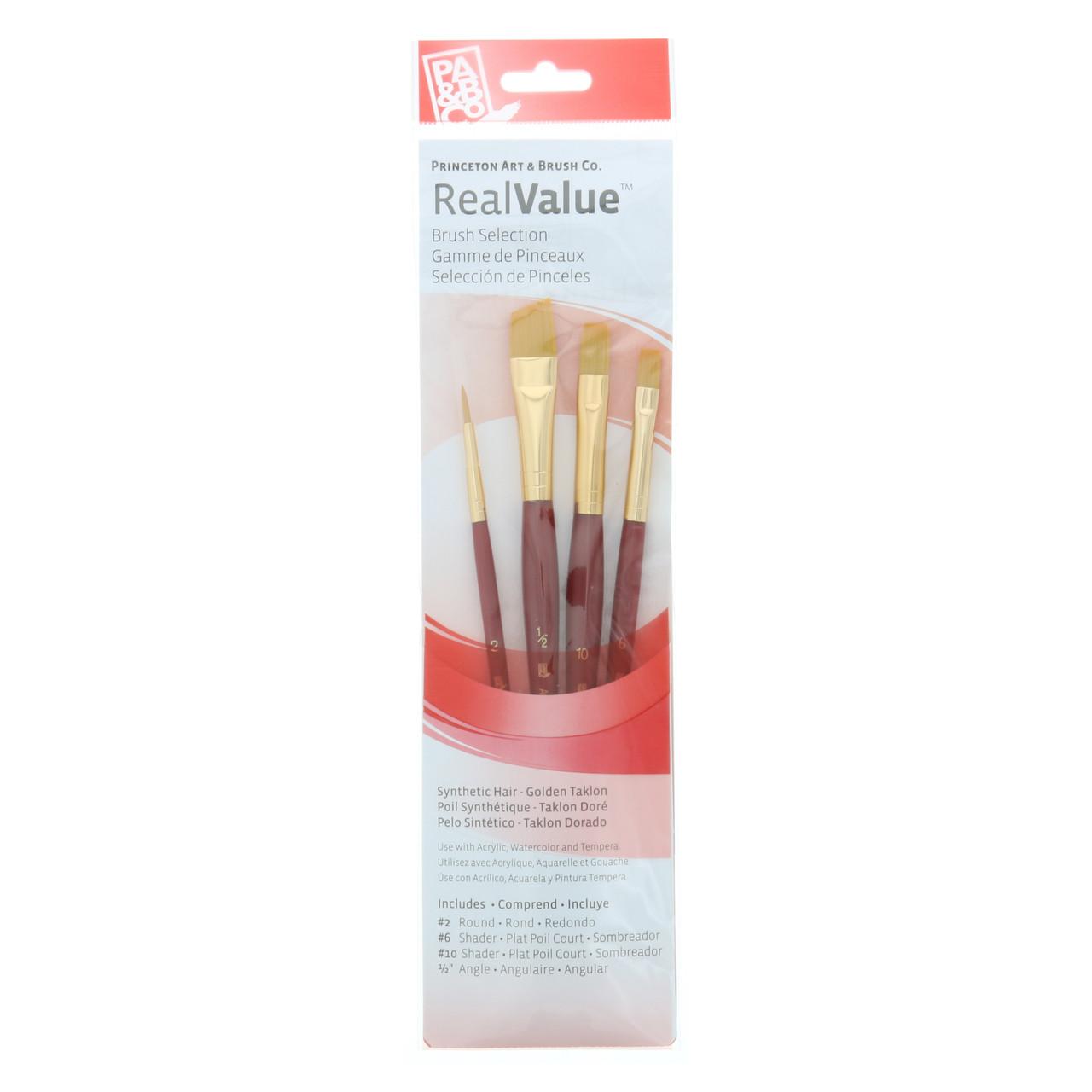 Synthetic Golden Taklon 4-Brush Set Round 2, Shader 6, 10, Angle 1/2