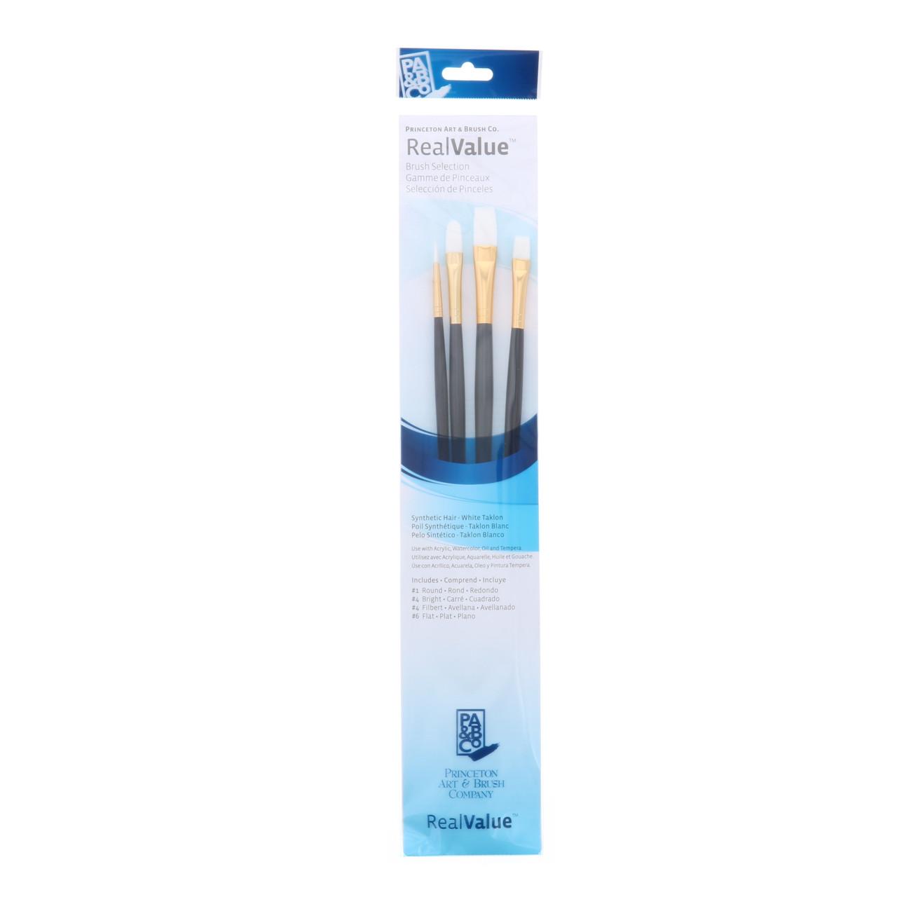 Synthetic White Taklon 4-Brush Set Round 1, Bright 4, Filbert 4, Flat 6