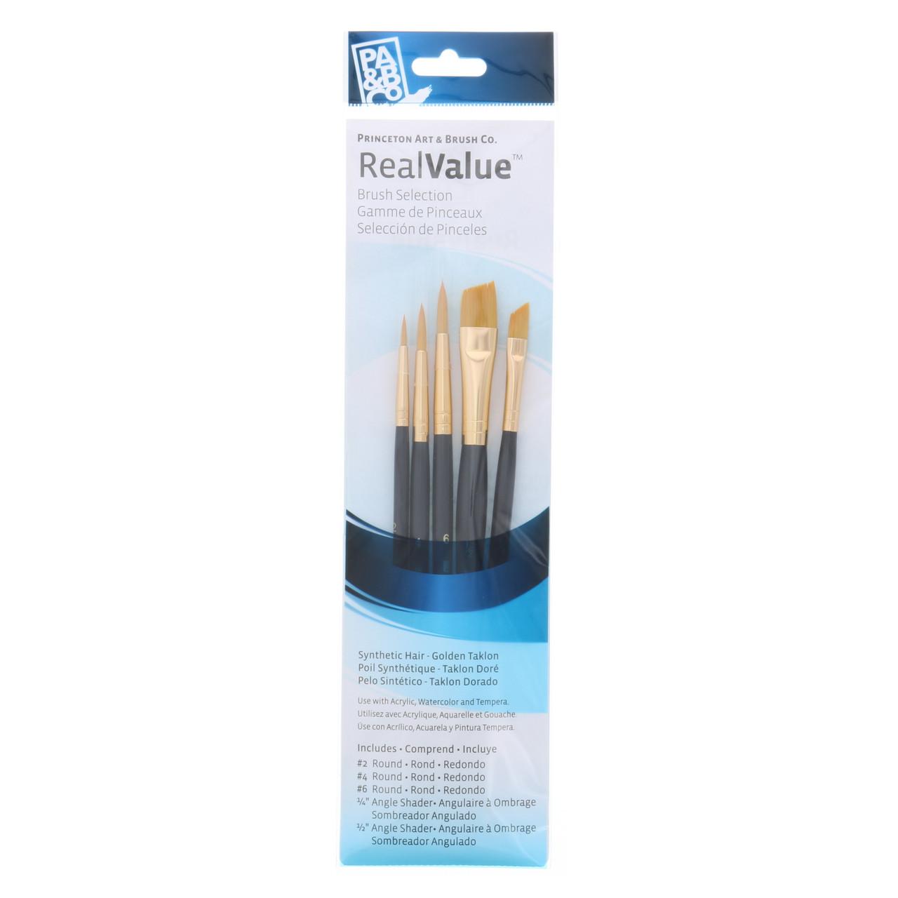 Synthetic Golden Taklon 5-Brush Set Round 2, 4, 6, Angle Shader 1/4, 1/2