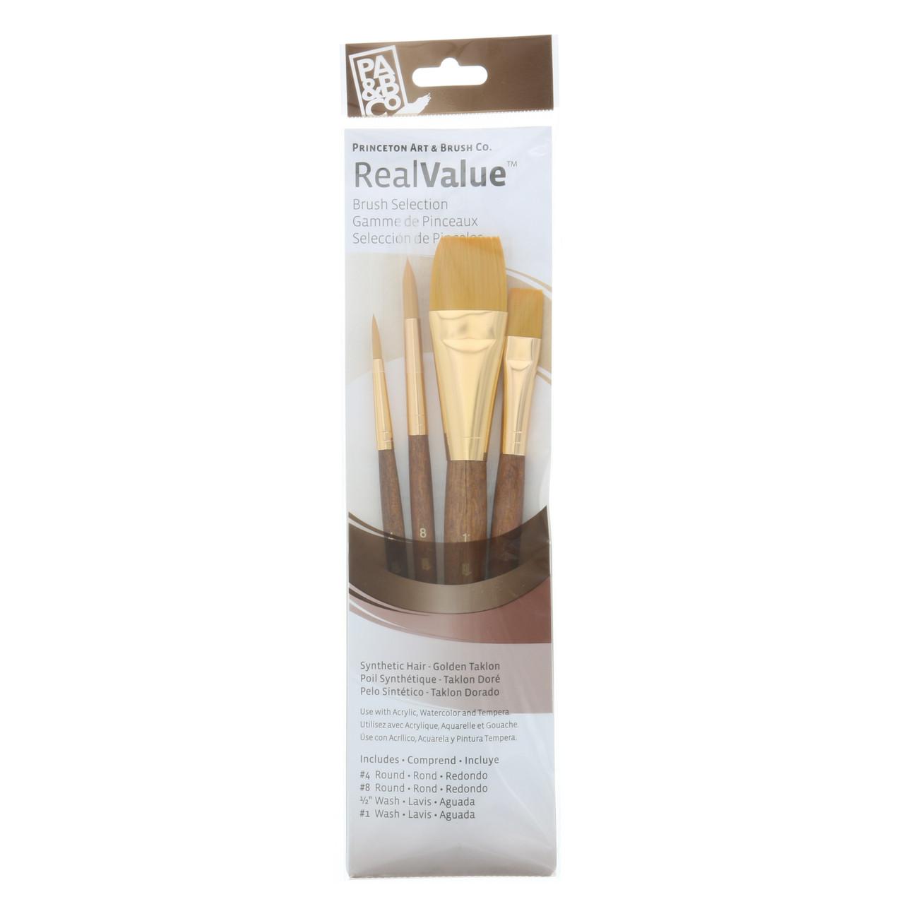 Synthetic Golden Taklon 4-Brush Set Round 4, 8, Wash 1/2, 1