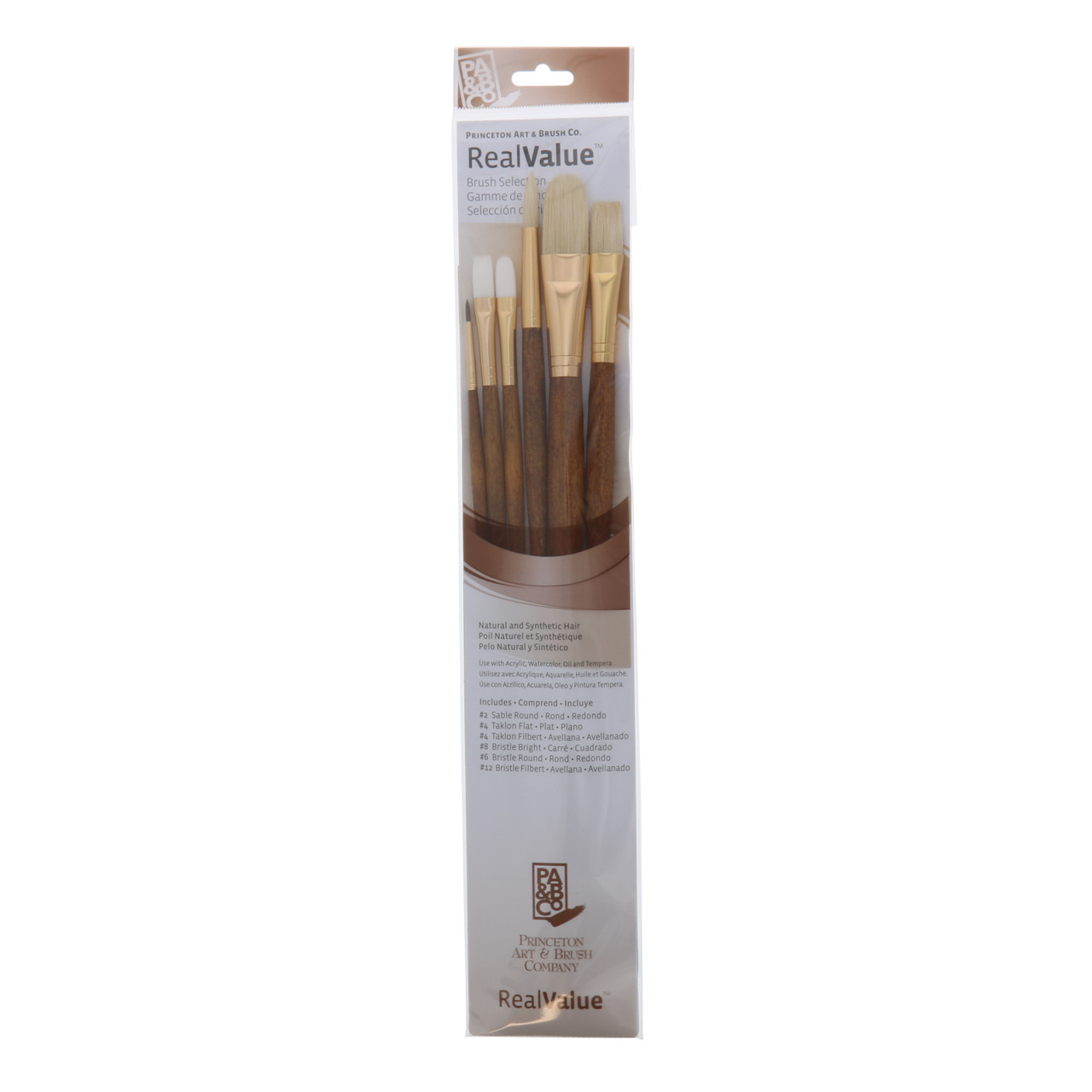 Natural/Synthetic Hair 6-Brush Set Round 2, 6, Flat 4, Bright 8, Synthetic Filbert 4, 12
