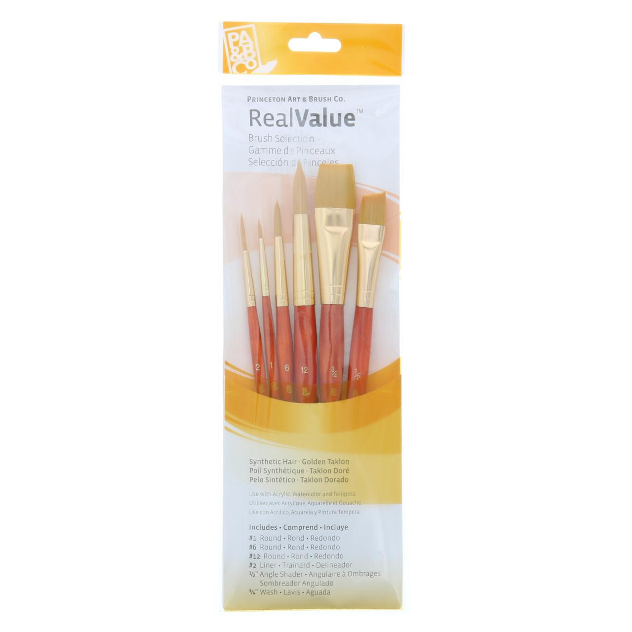 Synthetic Golden Taklon 6-Brush Set Round 1, 6, 12, Liner 2, Angle Shader 1/2, Wash 3/4