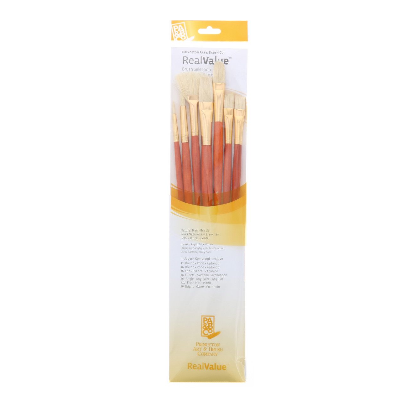 Natural-Bristle 7-Brush Set Round 2, 6, Bright 6, Filbert 8, Fan 6, Flat 10, Angular 6