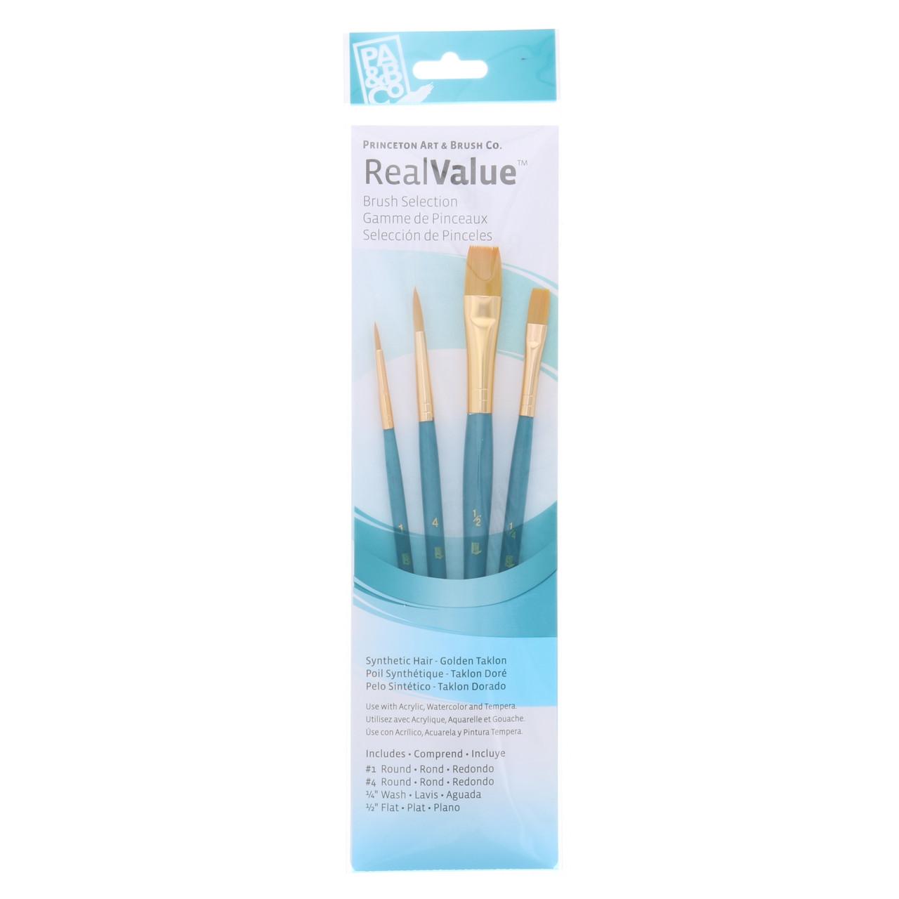 Synthetic Golden Taklon 4-Brush Set Round 1, 4, Wash 1/4, Flat 1/2