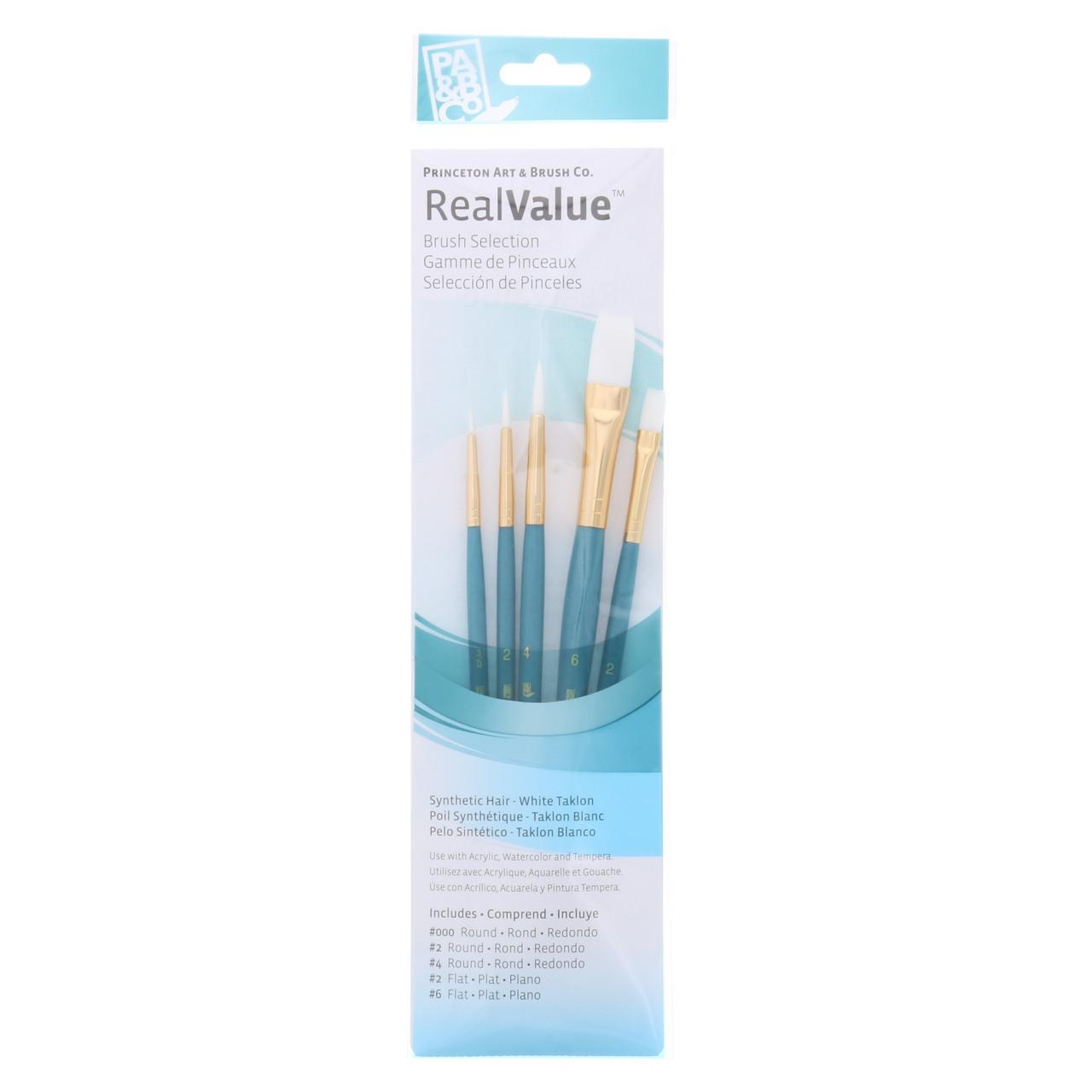Synthetic White Taklon 5-Brush Set Round 3/0, 2, 4, Flat 2, 6