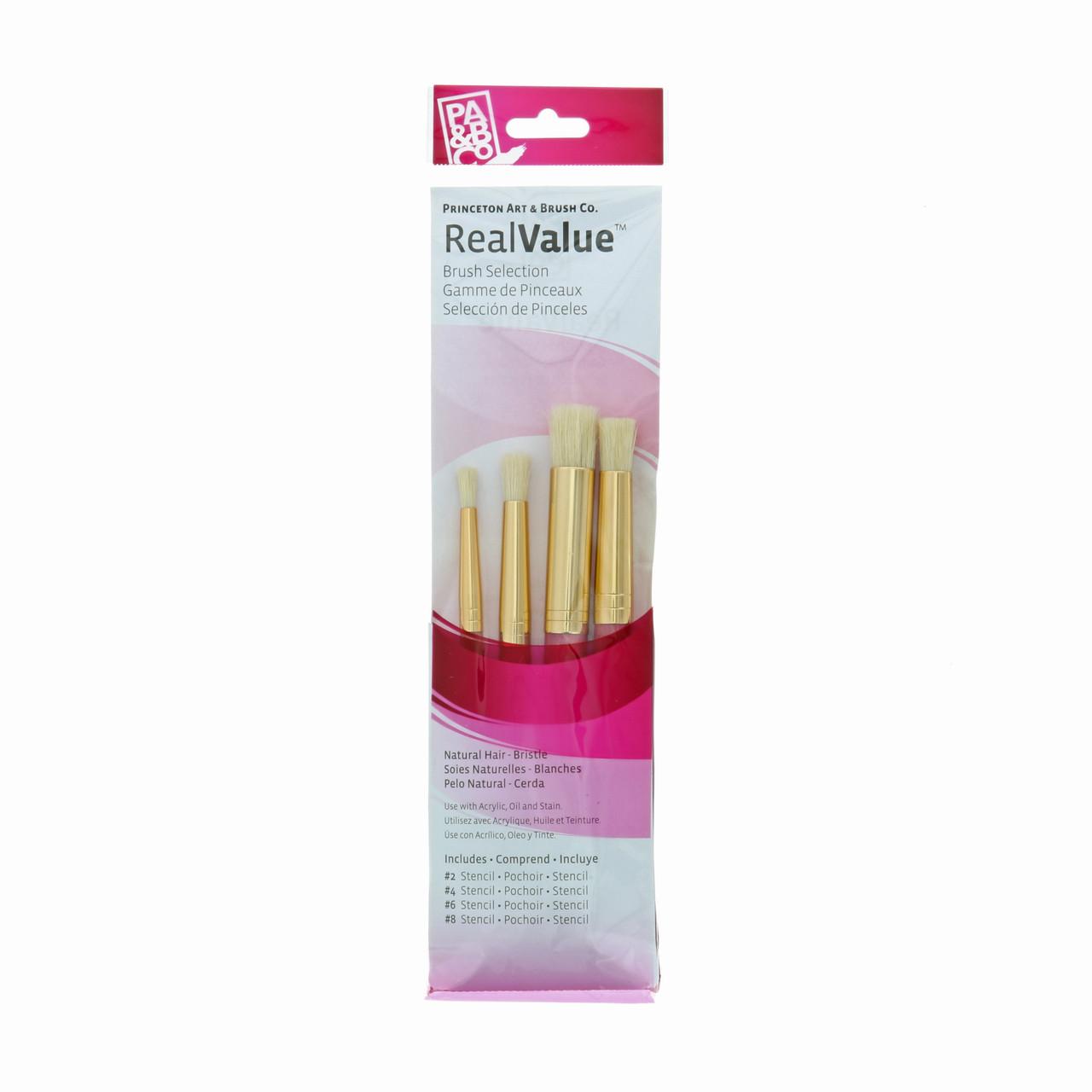 Natural-Bristle 4-Brush Set Stencil 2, 4, 6, 8