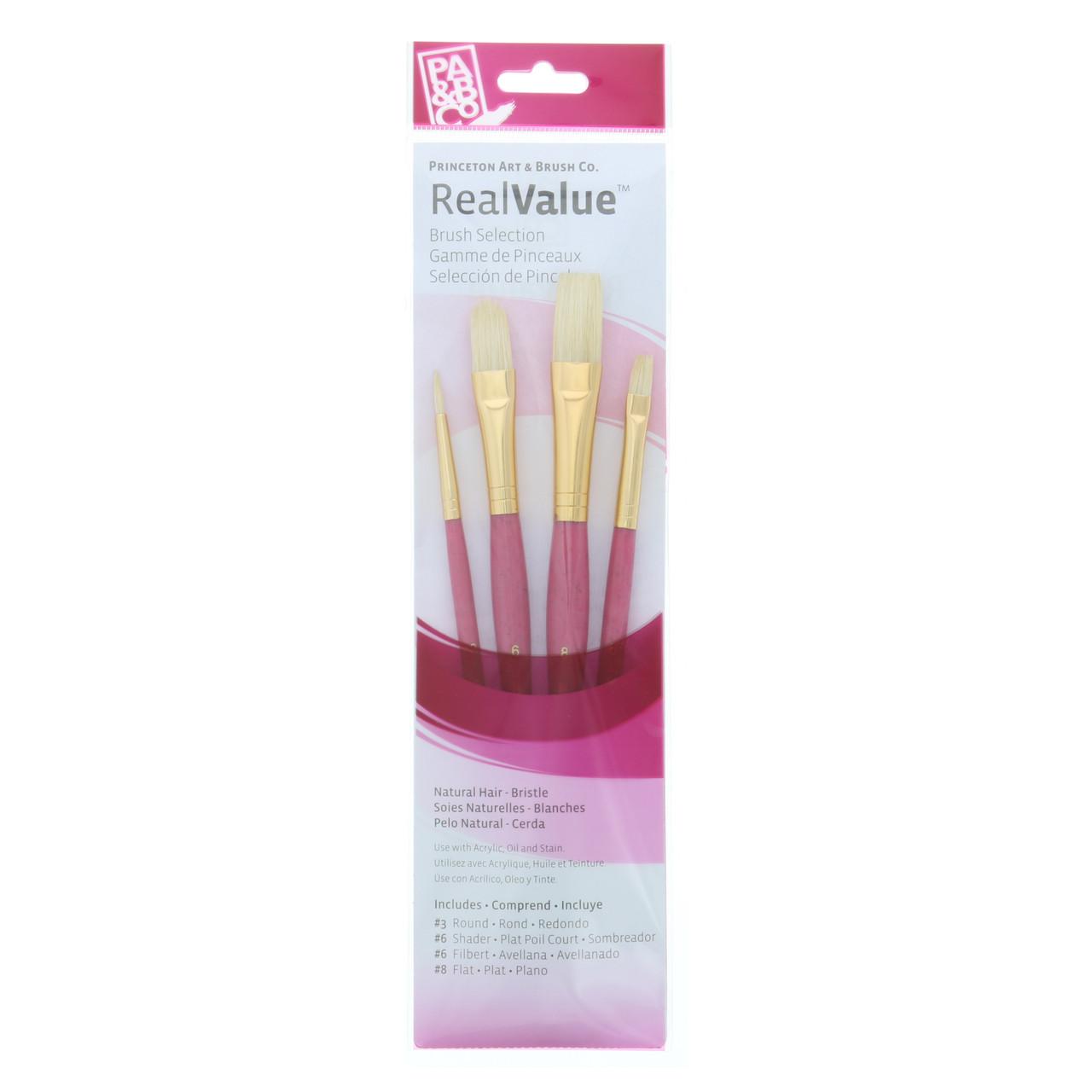 Natural-Bristle 4-Brush Set Round 3, Shader 6, Filbert 6, Flat 8