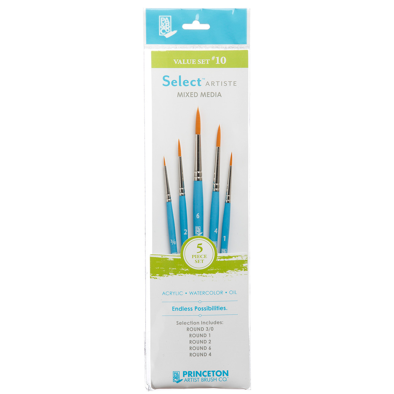 Select Artiste Mixed Media 5-Brush Set #10 Round 3/0, 1, 2, 4, 6