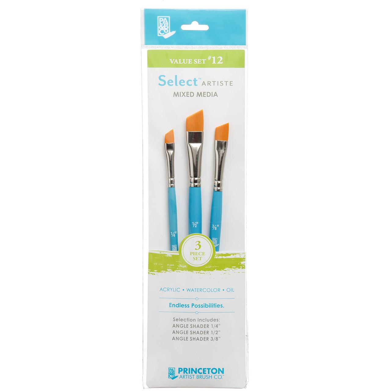"""Select Artiste Mixed Media 3-Brush Set #12 Angle Shader 1/4"""", 3/8"""", 1/2"""""""
