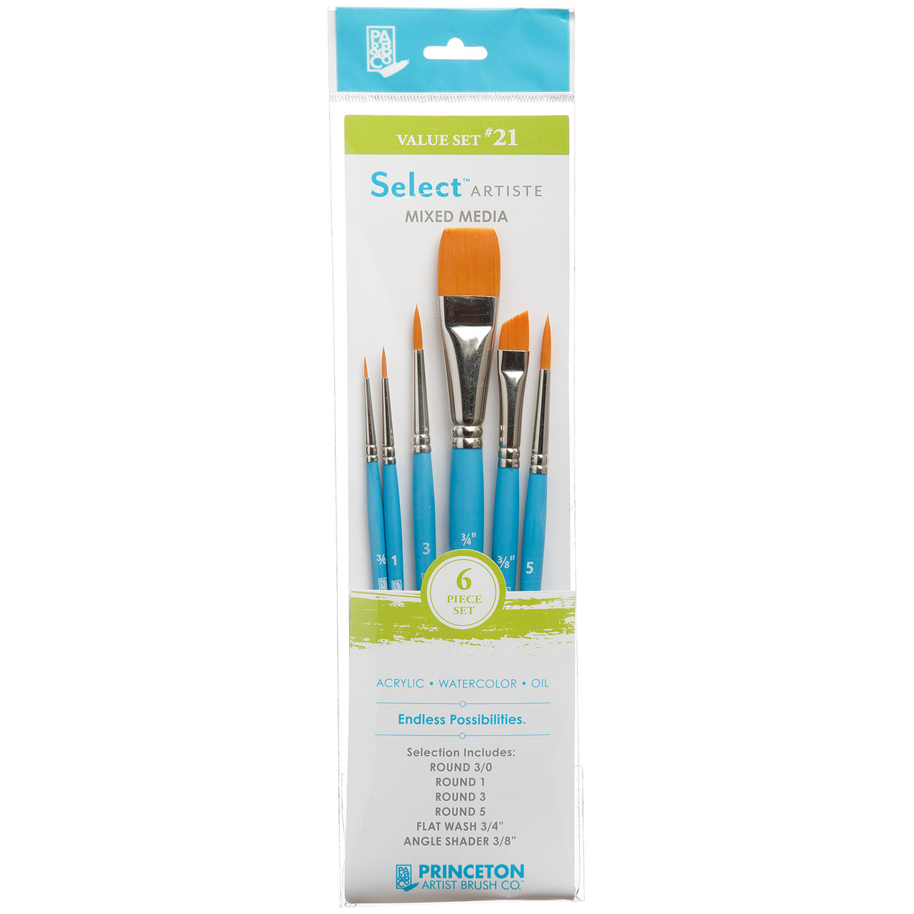 "Select Artiste Mixed Media 6-Brush Set #21 Round 3/0, 1, 3, 5, Flat Wash 3/4"", Angle Shader 3/8"""