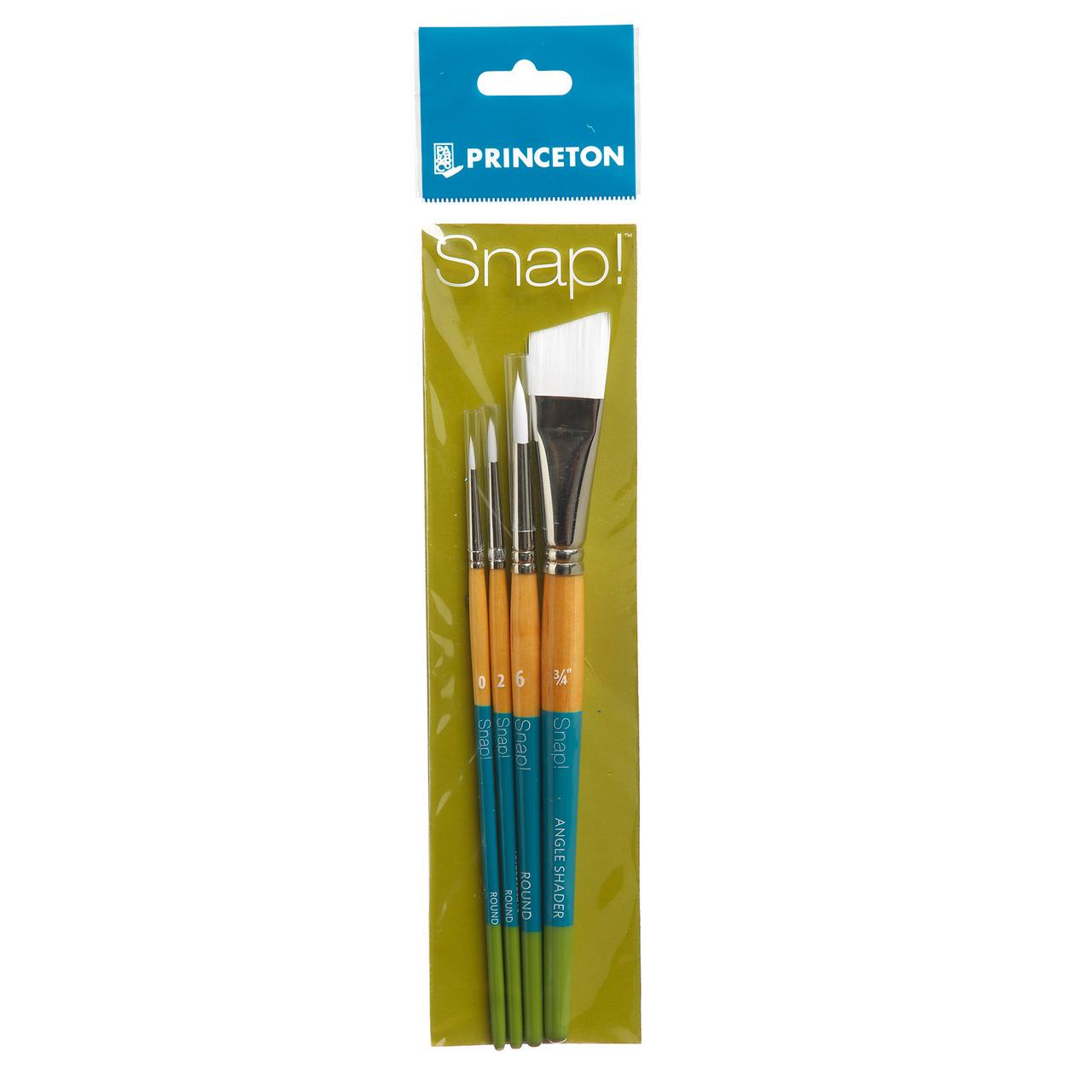 """Snap White Synthetic Taklon 4-Brush Set Angle Shader 3/4"""", Round 0, 2, 6"""