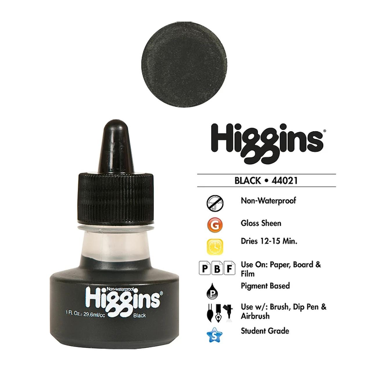 Higgins Black Non-Waterproof Ink 1oz