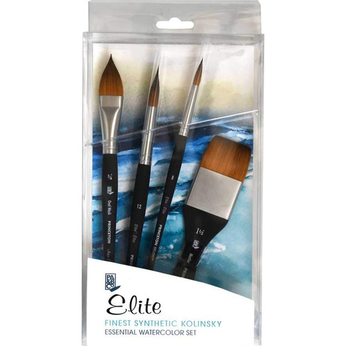 4750BSET Synthetic Squirrel for Watercolor Series 4750 4 Piece Professional Set Princeton Artist Brush Neptune
