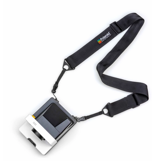 Polaroid Camera Strap Black Flat on camera