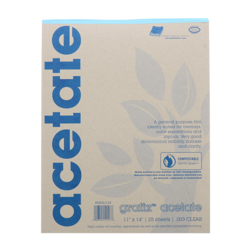 Grafix Clear Acetate Film .003mm 11in x 14in