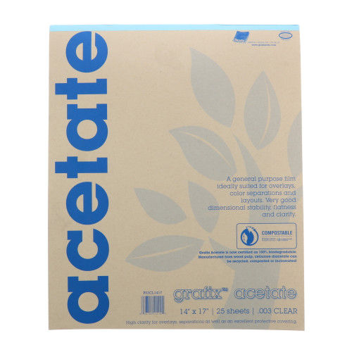 Grafix Clear Acetate Film .003mm 14in x 17in
