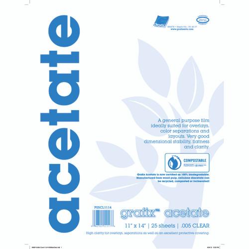 Grafix Clear Acetate Film .005mm 11in x 14in